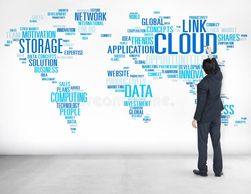 链接云彩计算技术数据信息概念 免版税库存图片