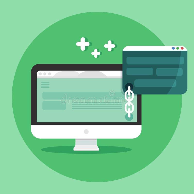 链接大厦概念 SEO营销和数字式营销传染媒介横幅 被隔绝的网站模板、电子邮件和录影 库存例证