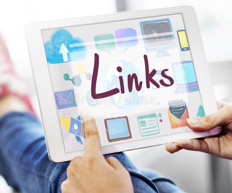 链接Backlinks超链接连接互联网网上概念 库存照片
