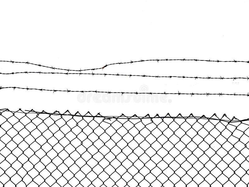 链节篱芭冠上与铁丝网 库存图片