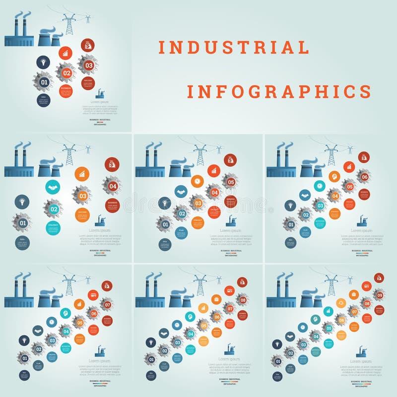 链轮编号了,企业象,管子工厂烟,电送电线,工业infographics,模板与 向量例证