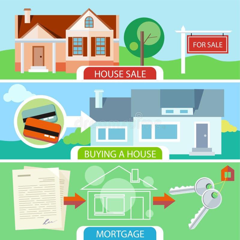 销售、买的房子和抵押 向量例证