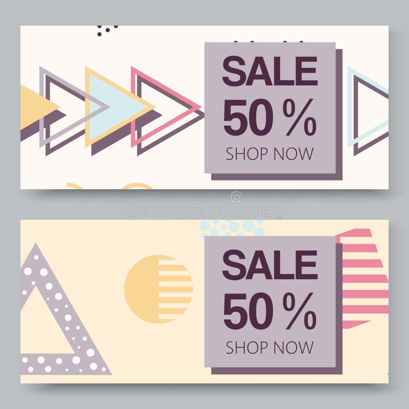 销售与半音几何形状集合的传染媒介横幅使并列与三角元素构成 构成主义 皇族释放例证