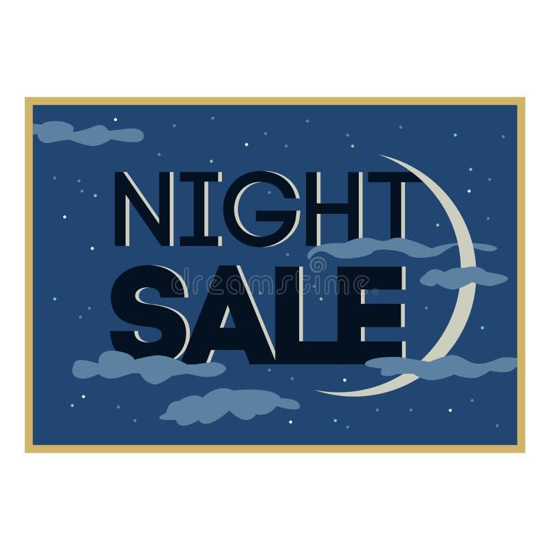 销售和折扣卡片,横幅,飞行物 黑星期五提议 夜销售标题 新月,与发光在多云天空的星的行星 皇族释放例证