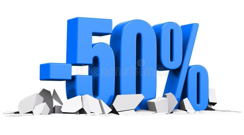 50%销售和折扣广告概念 皇族释放例证