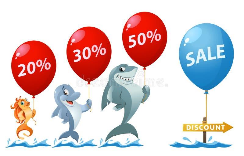 销售和折扣率 滑稽的金鱼、拿着气球的鲨鱼和海豚 库存照片