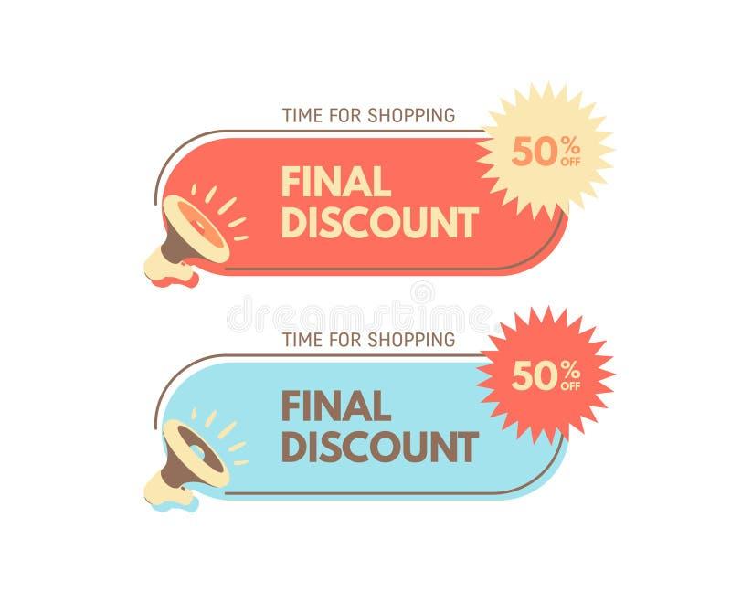 销售和特价 50% 有泡影讲话的扩音机 E 最佳的储蓄销售的贴纸 向量例证