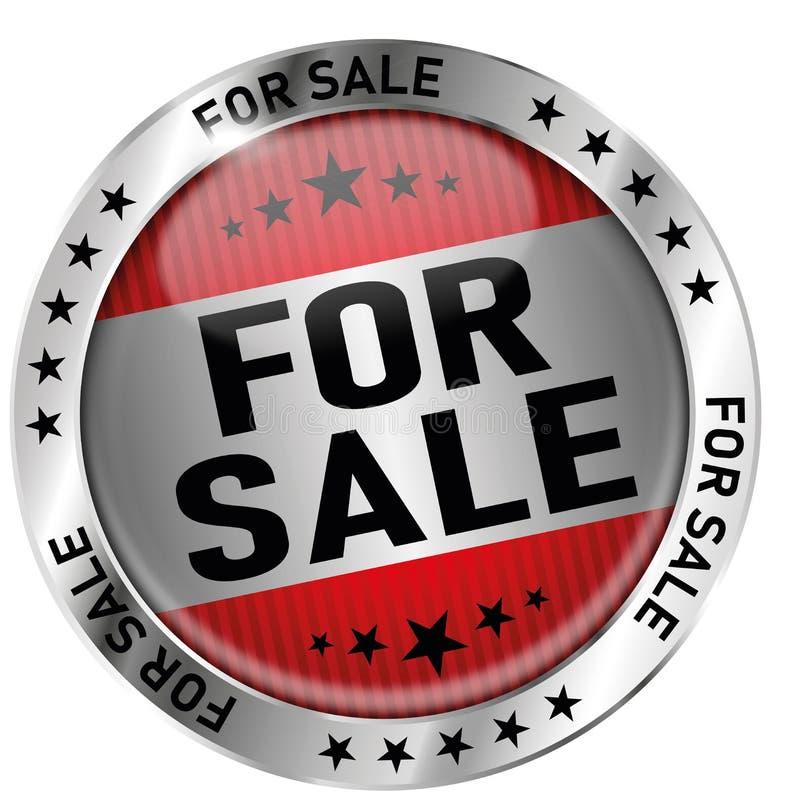 销售回合光滑的奖牌象封印徽章的红色 向量例证