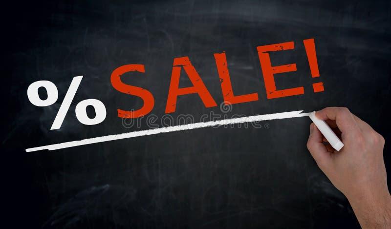 销售在黑板用手被写 免版税库存图片