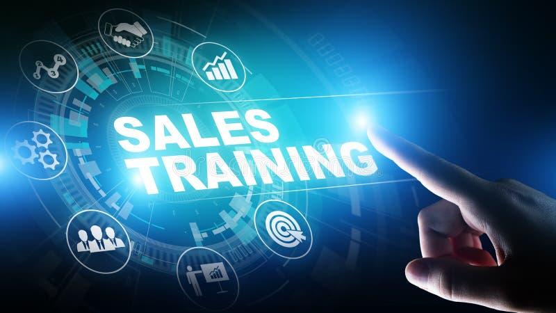 销售培训、业务发展和财政成长概念在虚屏上 库存图片