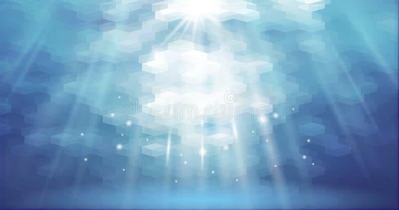 销售增进海报的水色在水面下抽象多角形背景传染媒介例证 空的表面为 库存例证