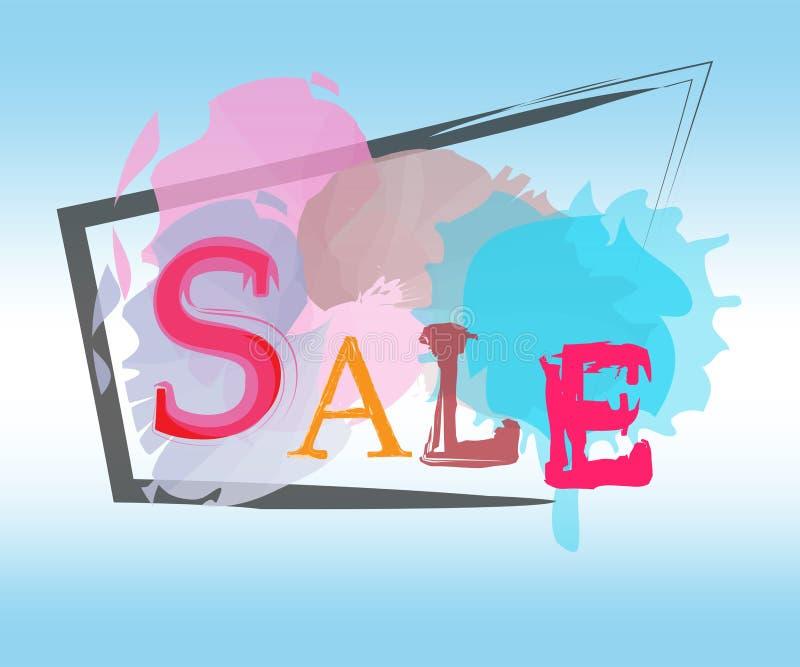 销售天蓝色由水彩的标签设计 向量例证