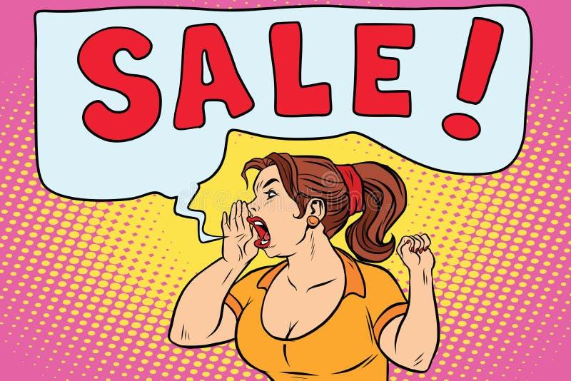 销售尖叫流行艺术的妇女 库存例证
