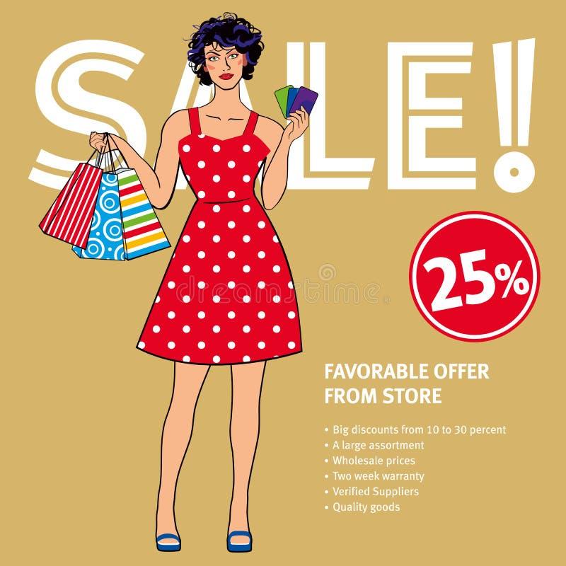 销售布局 拿着购物带来和优惠券的减速火箭的礼服的美女 库存例证