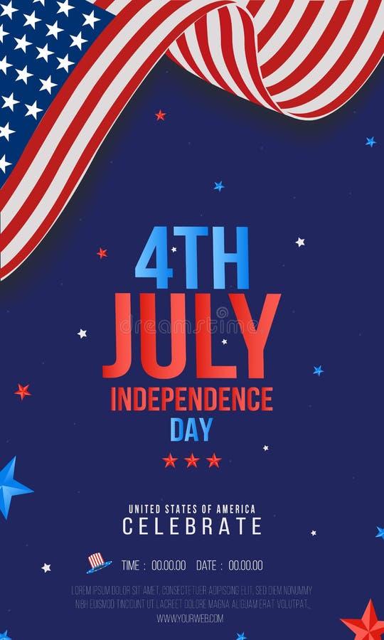 销售或党海报,横幅,飞行物,创造性的传染媒介例证为美国人7月第4,美国独立日 皇族释放例证