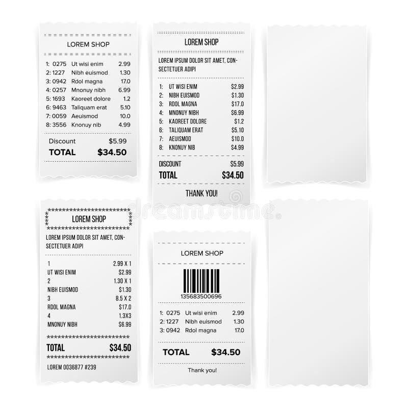 销售打印的收据白色空的纸空白的传染媒介 购物纸比尔Atm嘲笑 纸检查和财政检查Isol 皇族释放例证