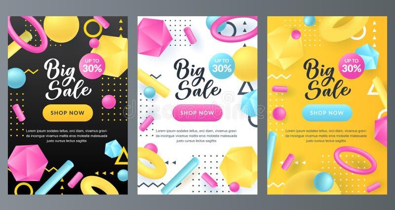 销售折扣摘要海报集合 孟菲斯样式横幅设计模板 传染媒介3d多色塑料几何形状 向量例证