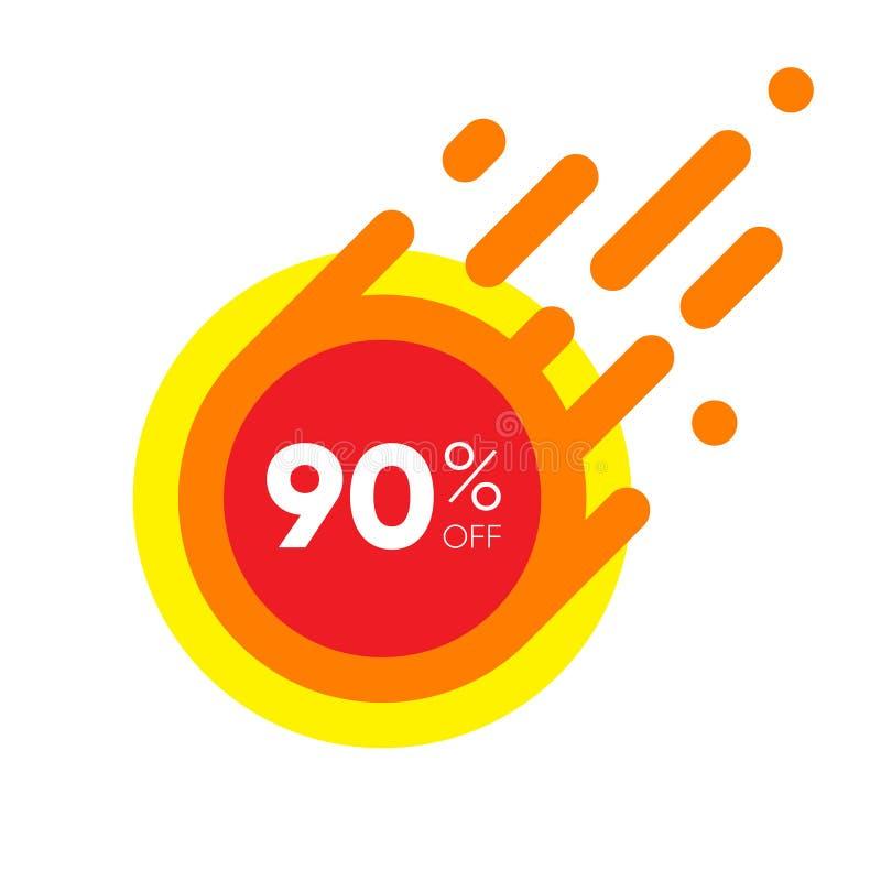 销售折扣横幅的百分之九十 特价优待红色标签 平的被设计的贴纸例证 向量例证