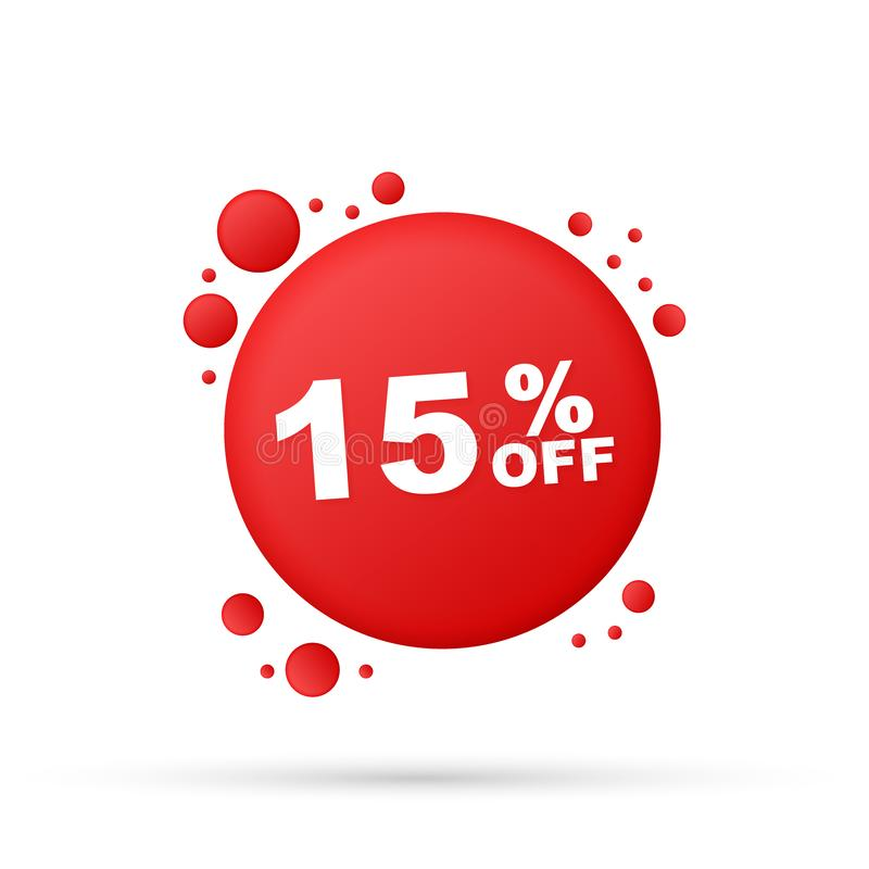 15%销售折扣横幅 折扣出价标记 与长的阴影的15%折扣促进平的象 皇族释放例证