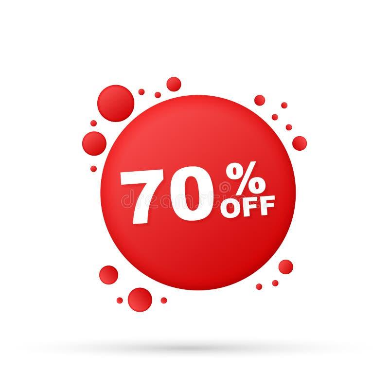 70%销售折扣横幅 折扣出价标记 与长的阴影的70%折扣促进平的象 皇族释放例证