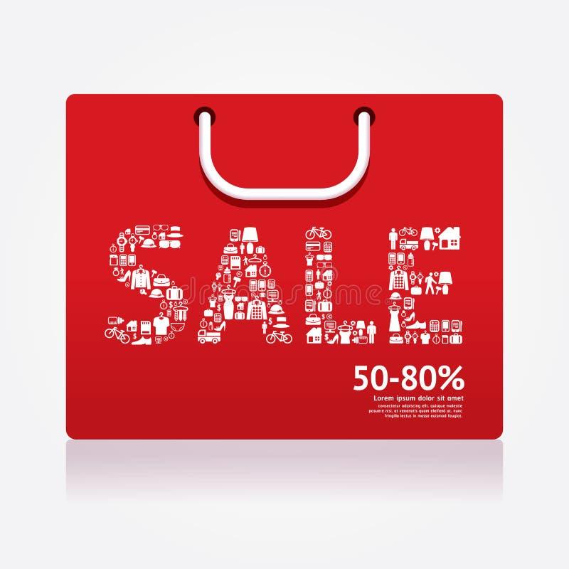 销售折扣被称呼的购物袋 给横幅做广告 向量 向量例证