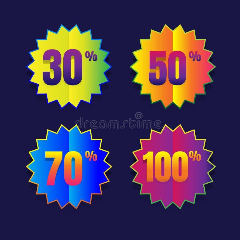 销售按钮百分之一百折扣销售象征封印标志dif 库存例证