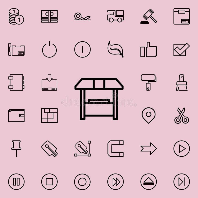 销售摊位概述象 详细的套minimalistic线象 优质图形设计 其中一个网站的汇集象 向量例证