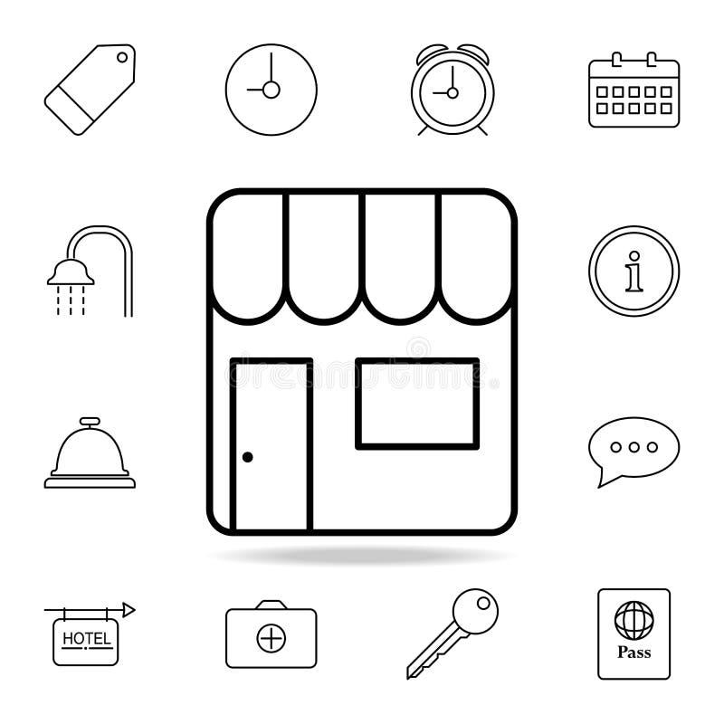 销售摊位象 简单的象,网络设计,流动app,信息图表的元素网站的 网站设计的稀薄的线象 皇族释放例证