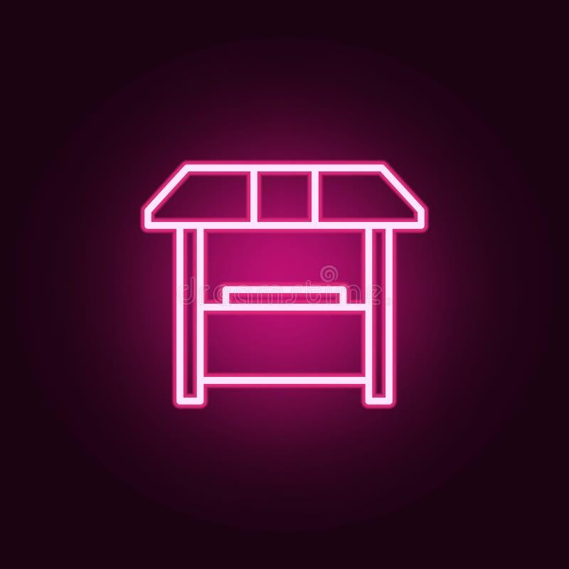 销售摊位象 网的元素在霓虹样式象的 网站的简单的象,网络设计,流动应用程序,信息图表 皇族释放例证