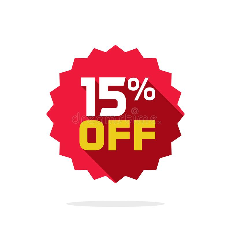 销售标记传染媒介徽章模板,销售标签标志的15%, 15打折与长的阴影的促进平的象 库存例证