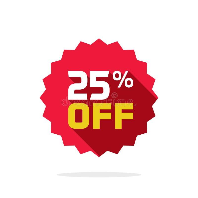 销售标记传染媒介徽章模板,销售标签的25% 向量例证
