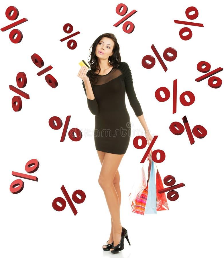 销售概念。有shoping的袋子的妇女。 免版税图库摄影