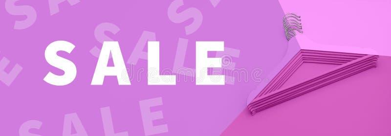 销售概念 廉价商店购物 舱内甲板被放置的顶视图上色了与题字销售的木挂衣架在桃红色背景 库存图片