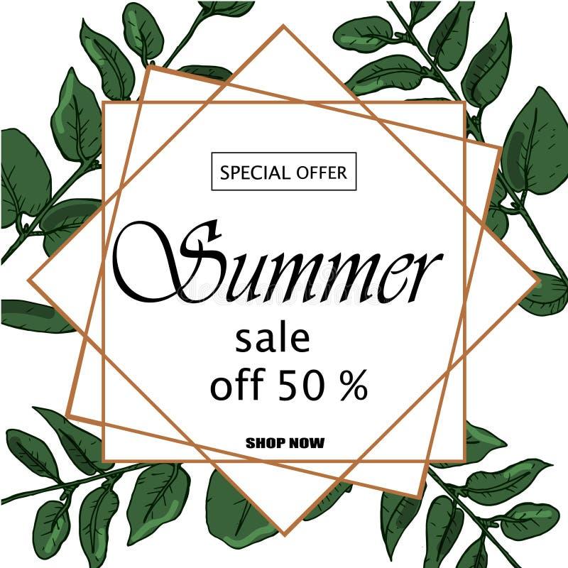销售横幅、海报与棕榈叶,密林叶子和手写字法 花卉热带夏天背景 库存例证