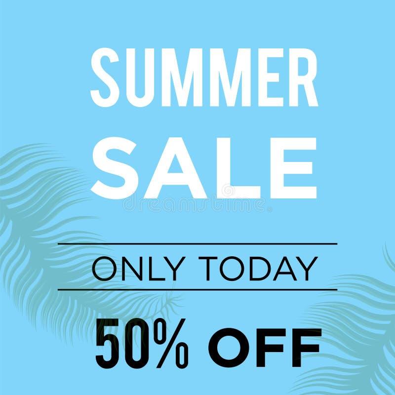 销售横幅模板设计的蓝色夏天50% 大销售特价 海报的,飞行物仅tpday 50%特价横幅, 向量例证