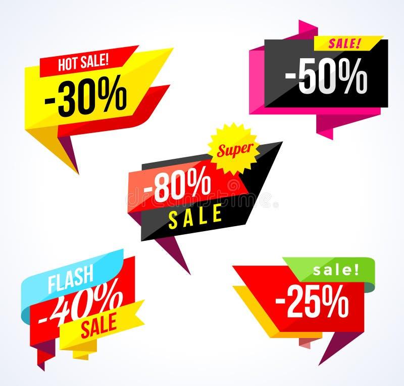 销售横幅汇集 色的贴纸和横幅 几何形状和五彩纸屑 大套美好的折扣和 向量例证