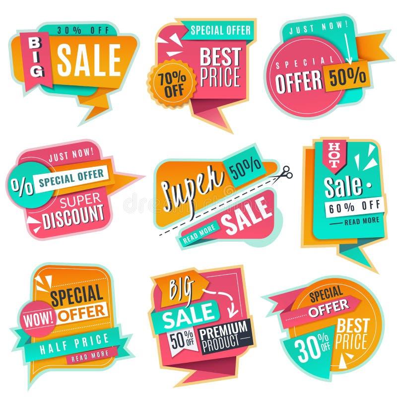 销售横幅集合 增进discoun标志,给提议横幅做广告 Origami促进销售导航标记 皇族释放例证