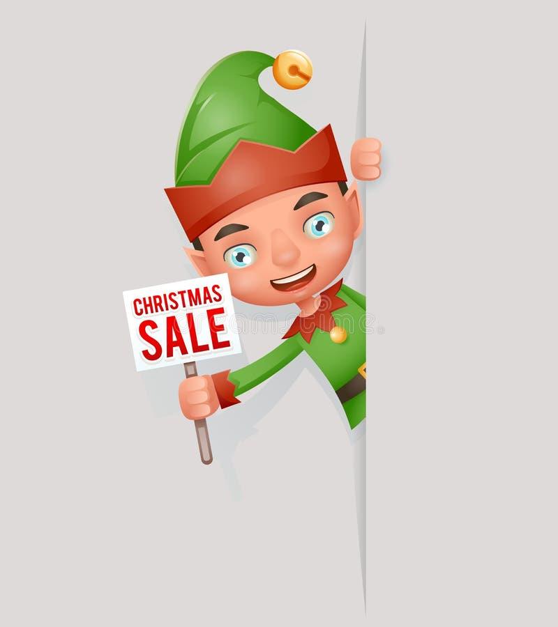 销售海报宽幅纸张广告神色游荡者逗人喜爱的矮子圣诞节圣诞老人帮手青少年的新年假日3d动画片 皇族释放例证