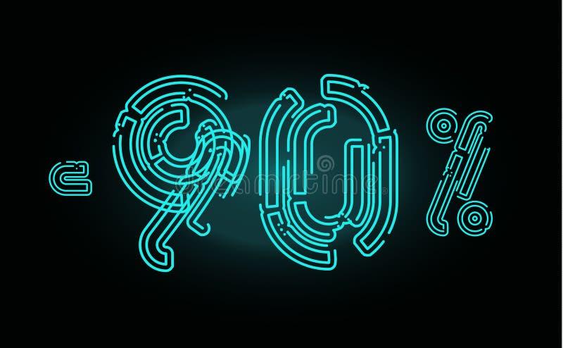 90销售海报概念 销售,事务、广告和网的百分之九十块折扣横幅设计模板 向量例证