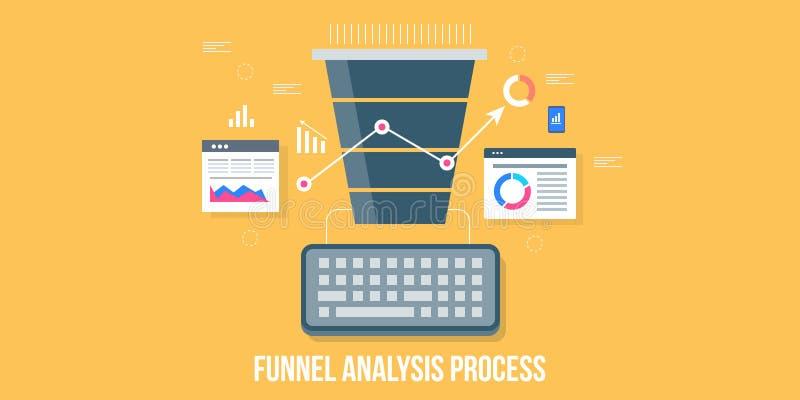 销售漏斗分析,销售的漏斗报告,转换优化,企业技术概念 平的设计传染媒介横幅 向量例证