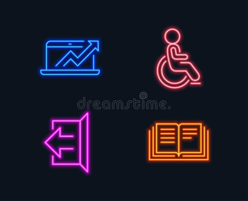 销售用图解法表示,签字和残疾象 教育标志 销售成长曲线图,注销,有残障的轮椅 向量例证
