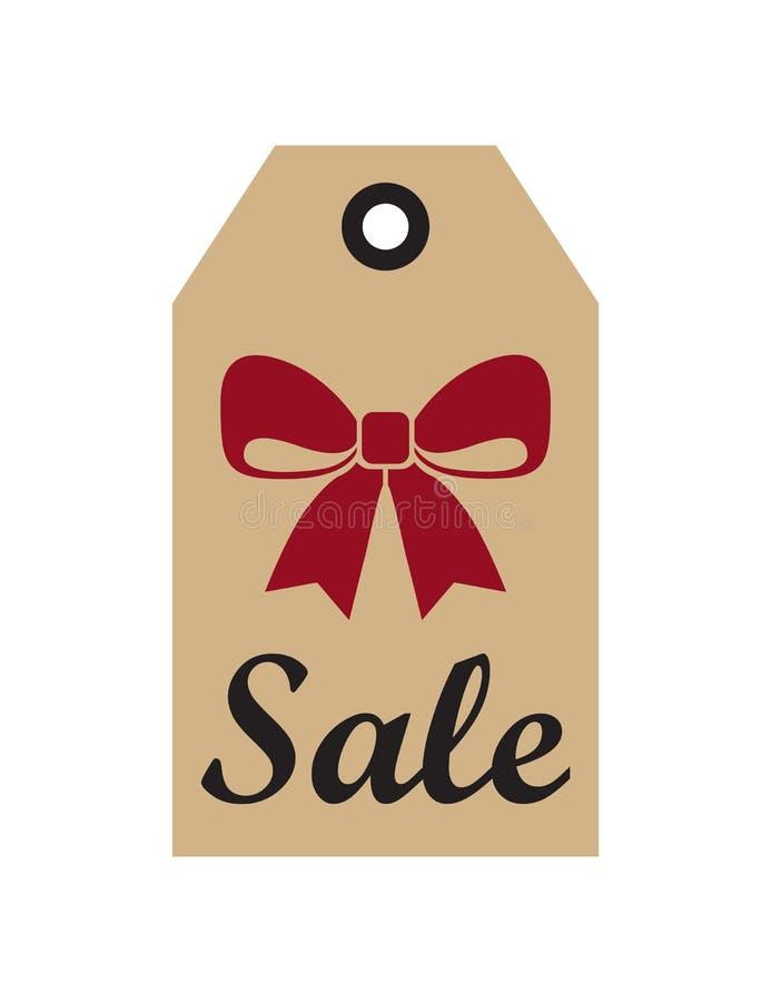 销售电视节目预告标签与圣诞节红色弓新年 向量例证