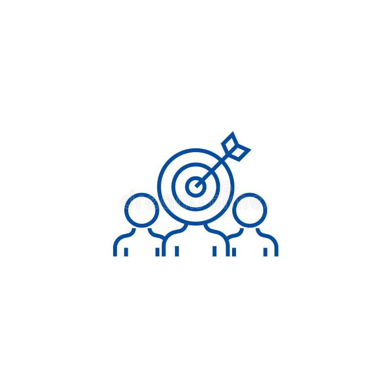 销售的观众订婚线象概念 销售的观众订婚平的传染媒介标志,标志,概述 库存例证