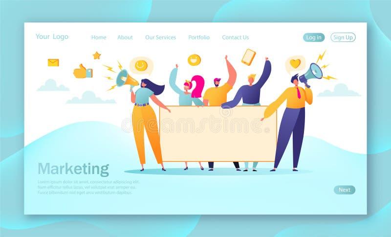 销售的队着陆页的概念 与拿着水平的空的横幅的平的商人字符的团队工作 向量例证