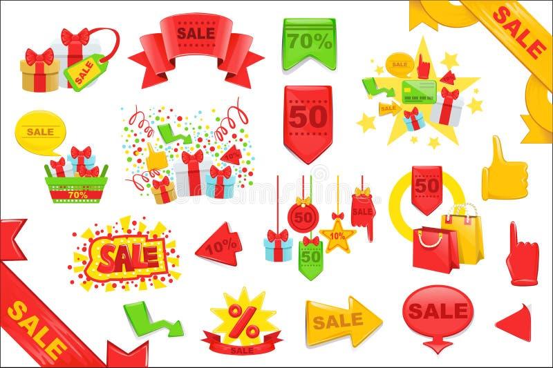 销售贴纸和被设置的横幅模板 明亮的彩图设计传染媒介象 向量例证