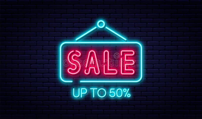 销售霓虹灯广告、销售和折扣概念 电子商务的明亮和发光的霓虹灯广告,广告,横幅,广告牌 皇族释放例证