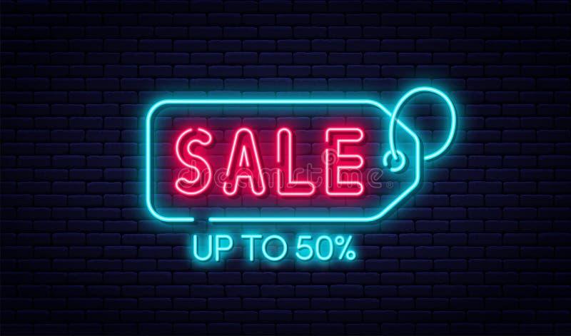 销售霓虹灯广告、销售和折扣概念 电子商务的明亮和发光的霓虹灯广告,广告,横幅,广告牌 向量例证
