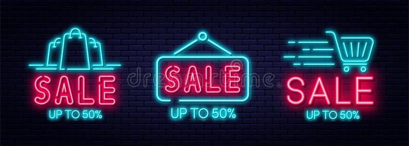 销售霓虹灯广告、销售和折扣概念 设置电子商务的发光的霓虹灯广告,广告,横幅,广告牌 皇族释放例证