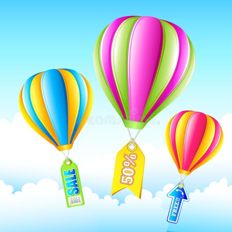 销售额热空气气球 向量例证