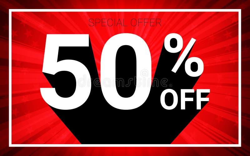 50%销售额 白色颜色3D文本和黑阴影在红色爆炸背景设计 皇族释放例证